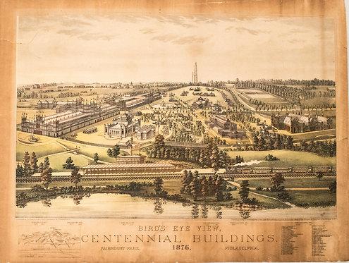 1876 Toudy Bird's Eye View of Centennial Exposition in Philadelphia