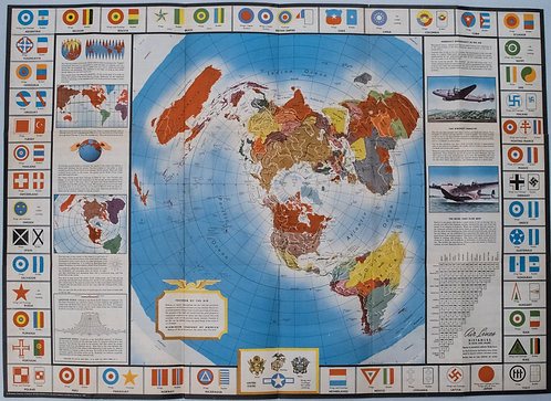 1943 Alcoa Aluminum Polar Projection of World at World Pictorial Map