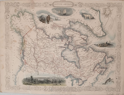 1850 Tallis Map of Canada