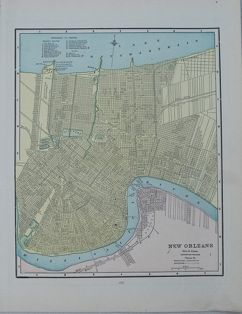 1891 Cram Map of New Orleans verso Atlanta
