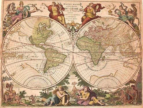 1792 Elwe/Jaillot Ornate World Map, Calif. Island