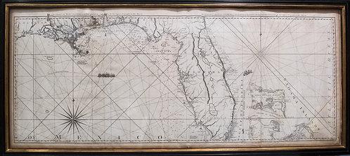 1775 Jefferys Map of Coast of Florida, Louisiana and Bahamas