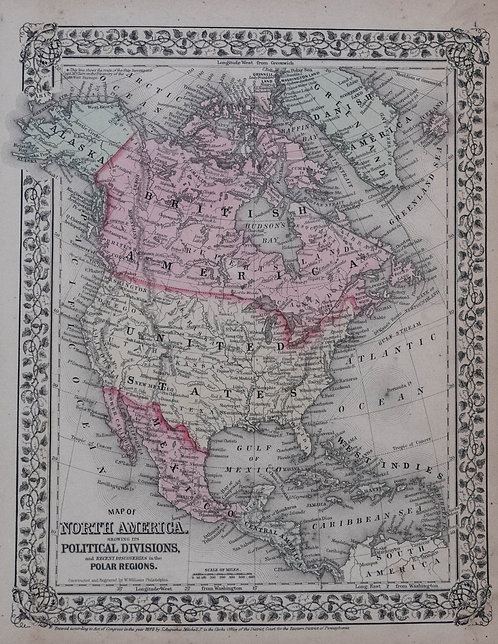 1870 Mitchell Map of North America