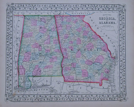1870 Mitchell Map of Alabama and Georia