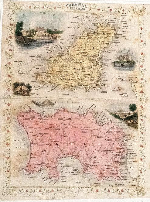 1850 Tallis Ornate Map of UK's Channel Islands