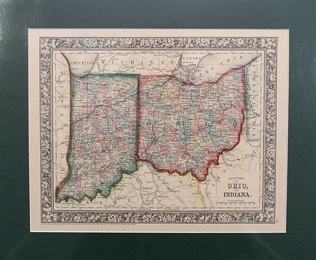 1867 Mitchell Map of Ohio and Indiana
