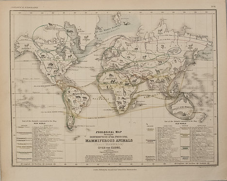 1850 Petermann Map of the Distribution of Mammals Globally