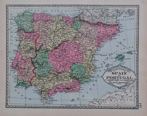 1885 Tunison's map of Spain, Portugal; verso NL, B, DK