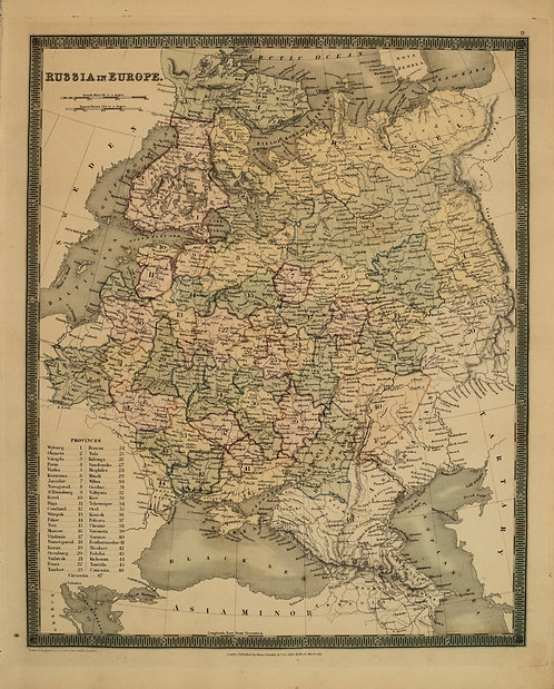 1831 Teesdale Map of Russia in Europe