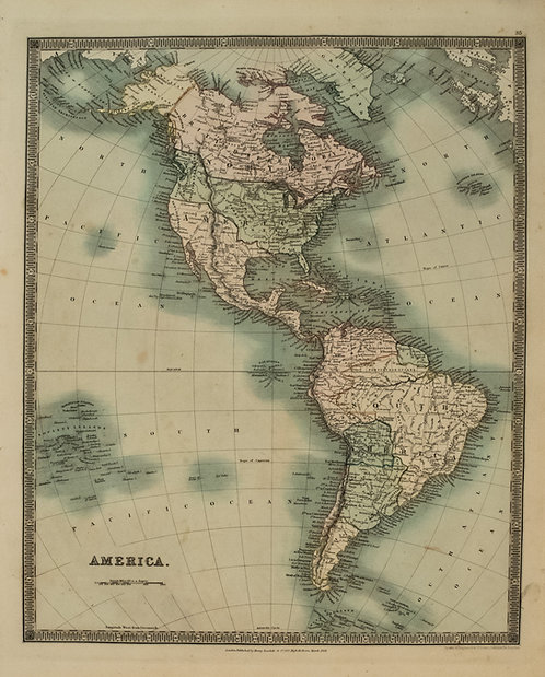 1831 Teesdale Map of North and South America