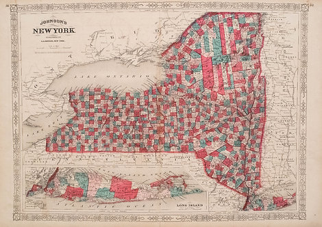 1866 Johnson's New York State Map
