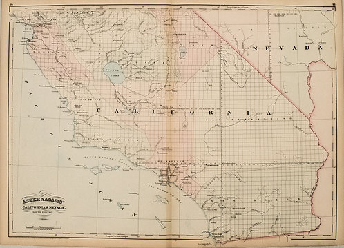 1872 Asher and Adams Map of Southern California and Nevada