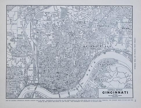 1939 Cram Map of Cincinnati