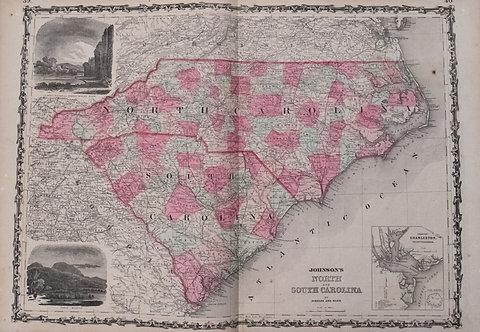 1864 Johnson Map of North and South Carolina