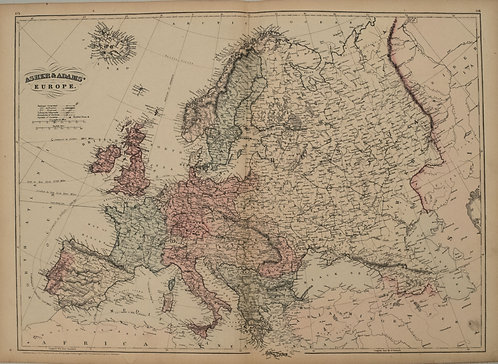 1872 Asher and Adams Map of Europe