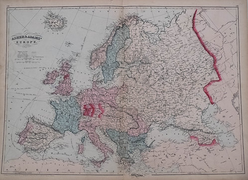 1872 Asher & Adams Map of Europe