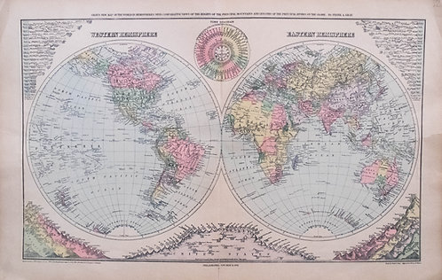 1908 Gray Double Hemisphere World Map