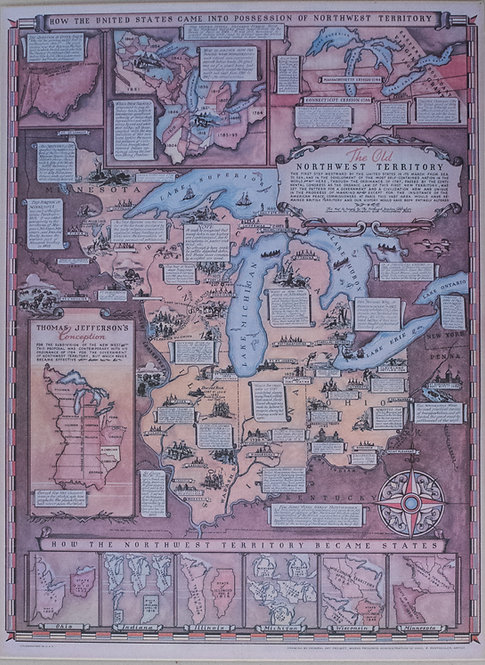 1937 Rentschler Pictorial Map of the Northwest Territory