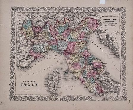 1855 Colton Map of Northern Italy