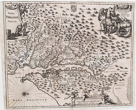 1671 Montanus/Ogilby Map of Very Early Virginia