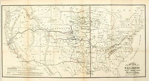 1883 Donaldson US Map of Subsidized Railroads West of Missouri