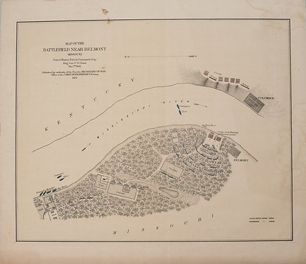 1876 U.S. War Department Map of Belmont, MO Civil War Battle