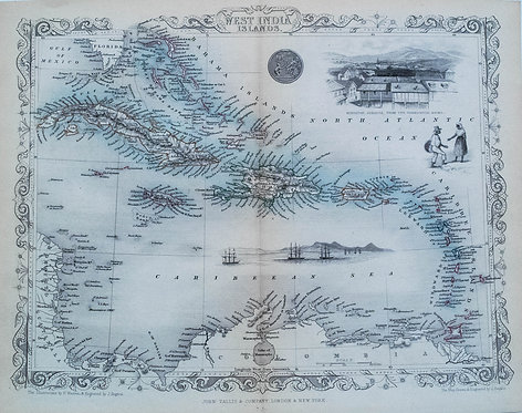 1851 Tallis Map of the Caribbean / West Indies