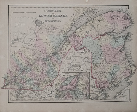 1855 Colton Map of Quebec and New Brunswick