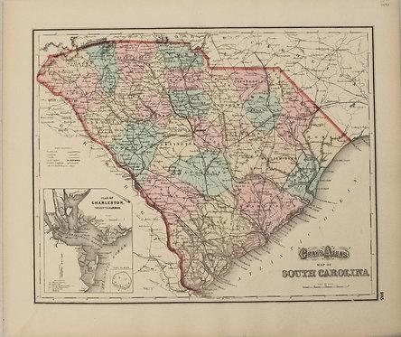 1873 Gray Map of South Carolina [verso] Georgia