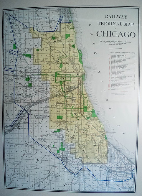 1913 Railway Terminal Map of Chicago
