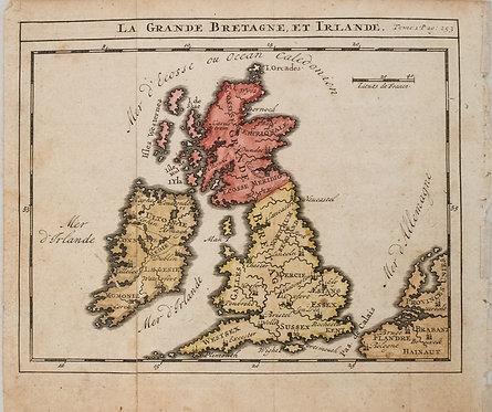 1743 Sanson Fils Map of the British Islands