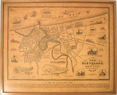 1937 Suchy Map of Historical Cleveland as it was in 1836