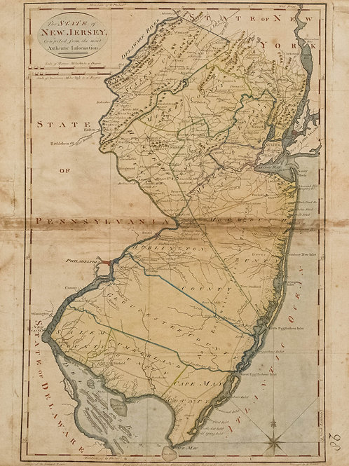 1814 Carey Map of New Jersey