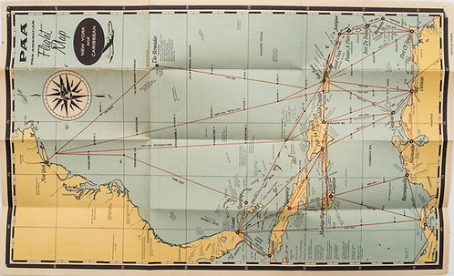 1950 Map of PanAm Airline Caribbean Routes