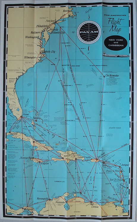1950s PanAm Route Map of Caribbean