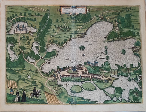 1596 Braun & Hogenberg Bird's Eye View of the German Town Plon and its Vicinity