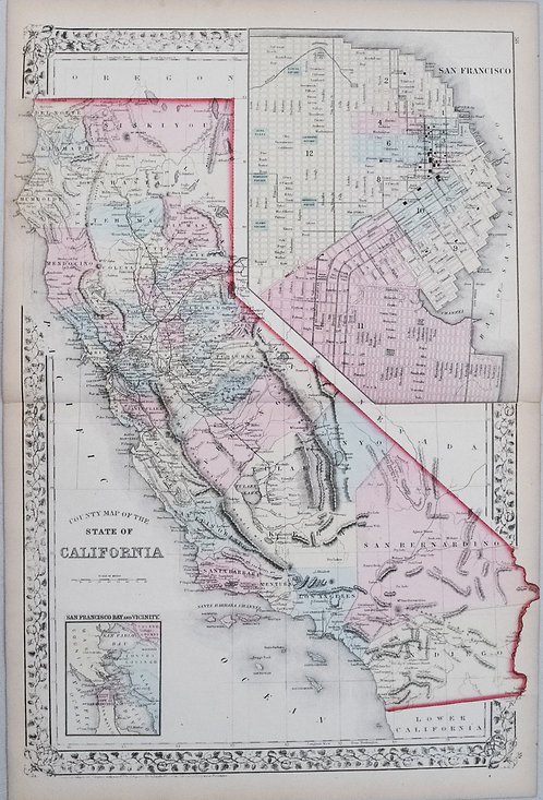1874 Mitchell Map of California