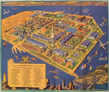 1939 White Pictorial map of San Francisco's Treasure Island
