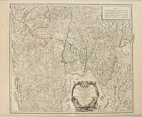 1753 Robert de Vaugondy Map of Central France including Lyon, Vicy, Loire Valley