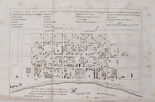 1827 c. Bellin Map of New Orleans