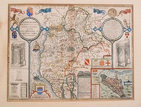 1611 Speed Map of Cumberland, Lake District, UK