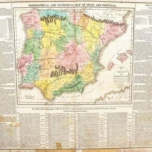 1820 Lavoisne Map Of Spain Portugal Us Edition
