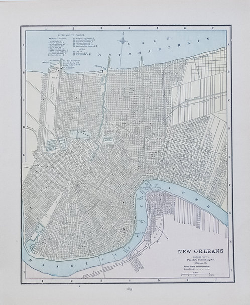 1889 Cram's Map of New Orleans verso Map of San Francisco