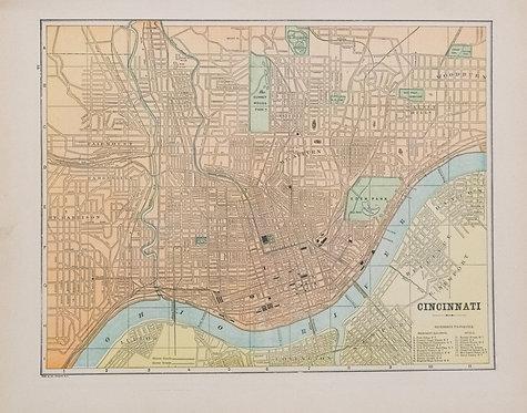 1896 Macy/Cram Map of Cincinnati