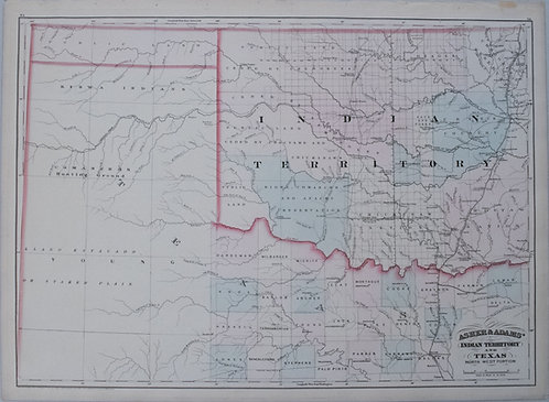 1874 Asher & Adams Indian Territory Map
