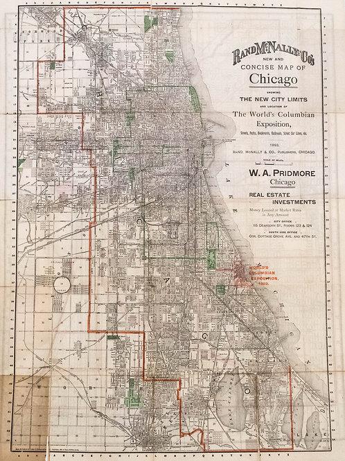 1893 Rand McNally Folding Map of Chicago, World Expo