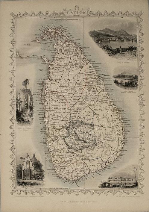 1851 Tallis Map of Sri Lanka / Ceylon