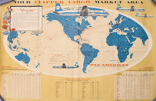1957 PanAM Pictorial World Map