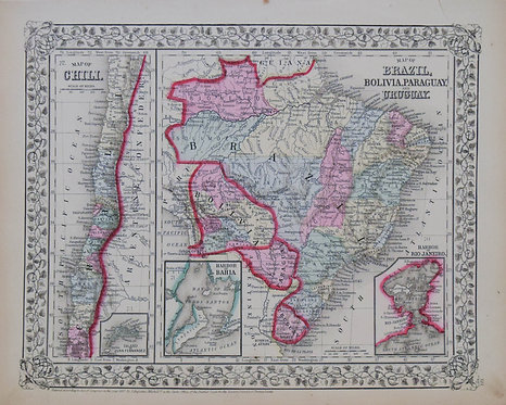 1867Mitchell:Brazil,Bolivia,Paraguay,Uruguay,Chile