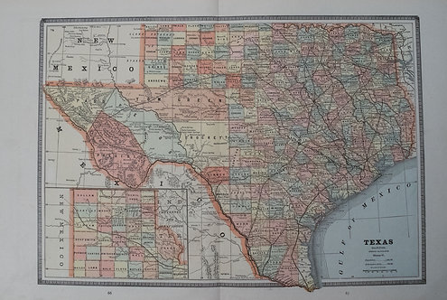 1885 Cram Map of Texas [verso] Indian Terretory [and] Arkansas